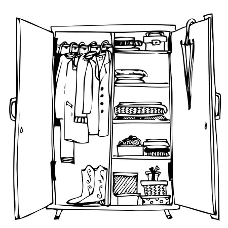dresser: wardrobe with clothes