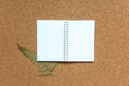 The notebook lies on a cork background with a dried fern. Place for text, mock-up for your design