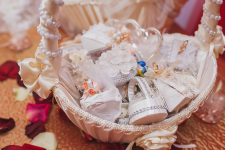 Wedding decor beige bonbonniere with candy