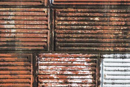 background of rusty old retro vintage aged Heater. round circle Radiator. iron metal Firing. Banco de Imagens