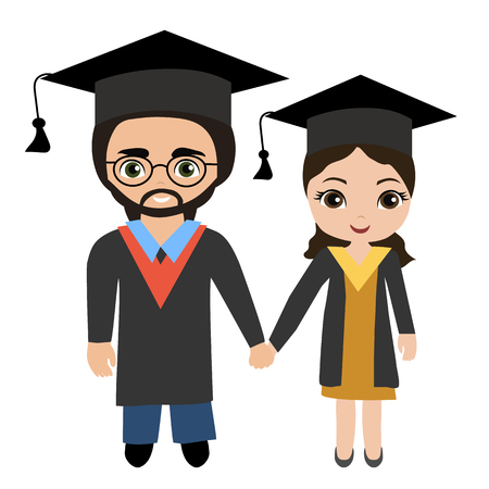 Couple of young graduating students vector illustration