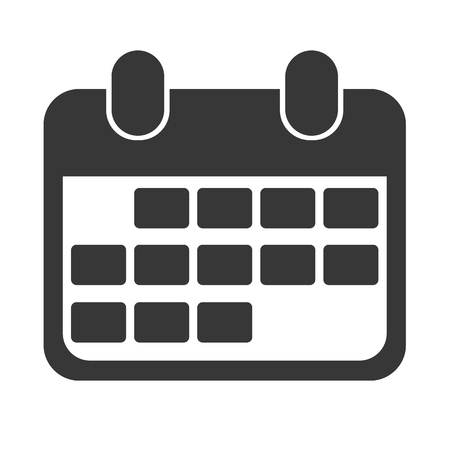Black abstract design calendar icon for business. Reminder for date or event, deadline or planning. Organizer concept.