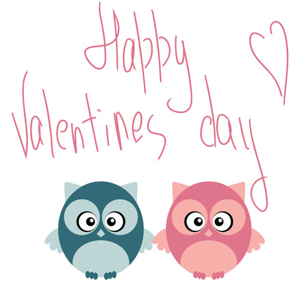 Cute romantic owl in love on valentine day. Creative design concept for invitation, holiday or postcard.