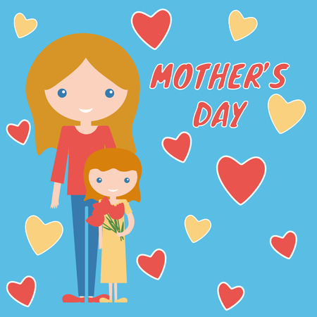 Mother day art design mom and daughter with flowers. Beautiful happiness family sweet little child baby and parent.