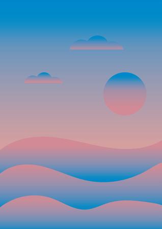 Colorful abstract sunrise landscape over the sea ocean and blue sky. design for wallpaper, background, banner or poster. Ilustração