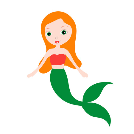 Vector illustration of cute underwater mermaid girl. Fairy fantasy of sea. Isolated character water mythology princess. Young fairytale magic woman with long hair and tail.