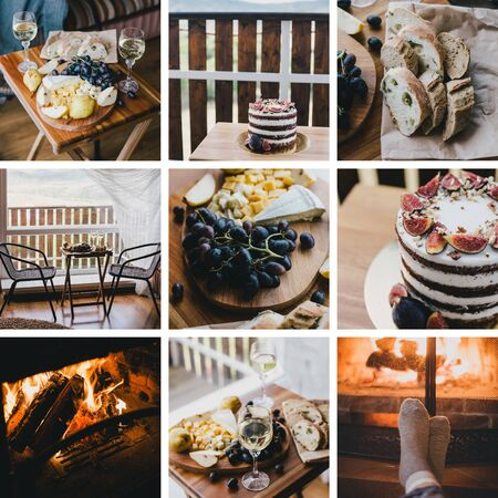 Collage of nine photos with grape, cheese, wine, cake, fireplace. Weekend in a country house