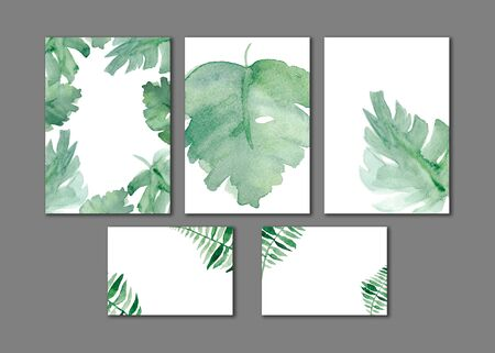 Watercolor wedding set.Exotic plants  theme. Backgrounds with ferns and monstera leaves for invitation cards.