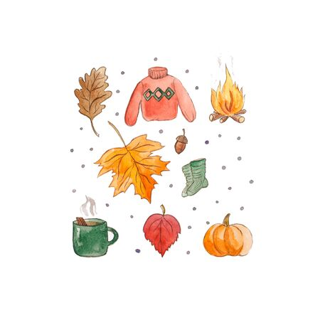 Hand drawn watercolor cozy autumn isolated on white background.