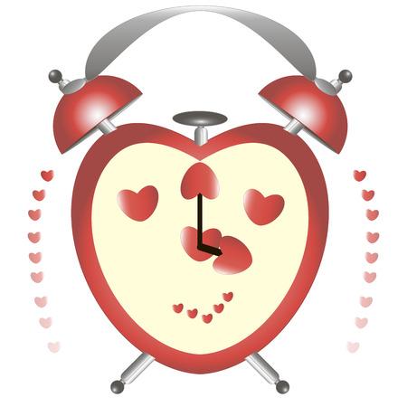 alarm clock: alarm clock in the form of heart Illustration