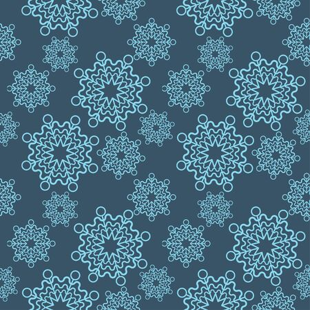 Blue snowflake seamless pattern on a dark background. Lacey texture.  イラスト・ベクター素材