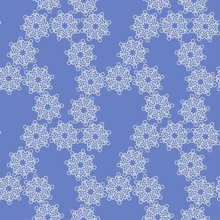 Purple snowflake seamless pattern on a dark background. Lacey texture.  イラスト・ベクター素材