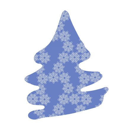 Fir tree silouette with purple snowflake pattern on white.