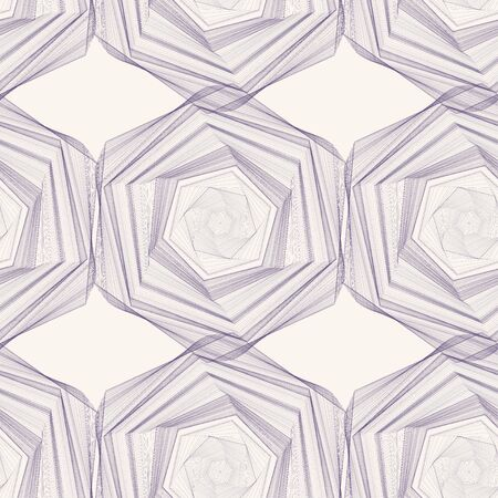 Abstract background purple lines on a beige background. Purple hexagon. Square background. Seamless pattern.