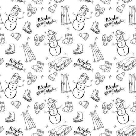 Winter stuff vector seamless pattern. Isolated doodle set. Winter wonderland. Snowman, skates, hat, mittens, sleigh, ski. 일러스트