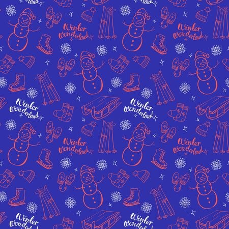 Winter orange objects vector seamless pattern on bright blue background. Isolated doodle set. Winter wonderland. Snowman, skates, hat, mittens, sleigh, ski.