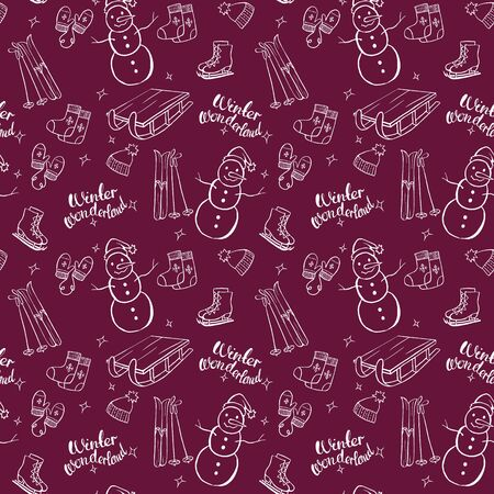 Winter objects vector seamless pattern on dark red background. Isolated doodle set. Winter wonderland. Snowman, skates, hat, mittens, sleigh, ski.