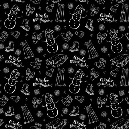 Winter objects vector seamless pattern on black background. Isolated doodle set. Winter wonderland. Snowman, skates, hat, mittens, sleigh, ski.