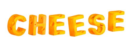 Cheese title isolated on white background. The letters made out of cheese. Tasty yellow orange piece of cheese.