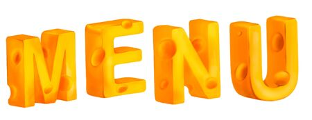 Cheese MENU title isolated on white background. The letters made out of cheese. Tasty yellow orange piece of cheese. Digital painting.