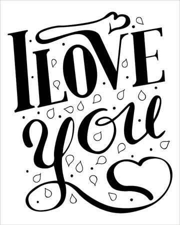 Lettering I love you isolated on white Çizim