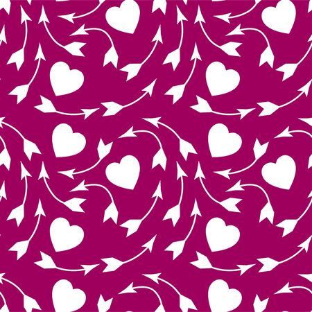 Hearts and arrows vector seamless pattern. White elements isolated on pink background. Valentines day background. Çizim