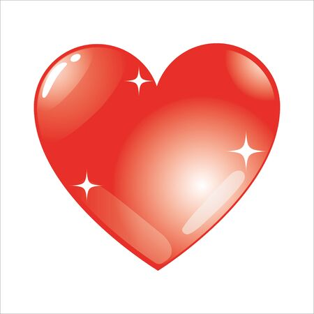 Red vector heart shape isolated on white background. Simple design element. Valentines Day symbol. Gradient and little shiny stars. Stock Illustratie