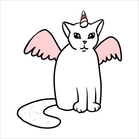 Doodle simple chat licorne. Chat blanc avec corne rose, ailes, grosse queue.