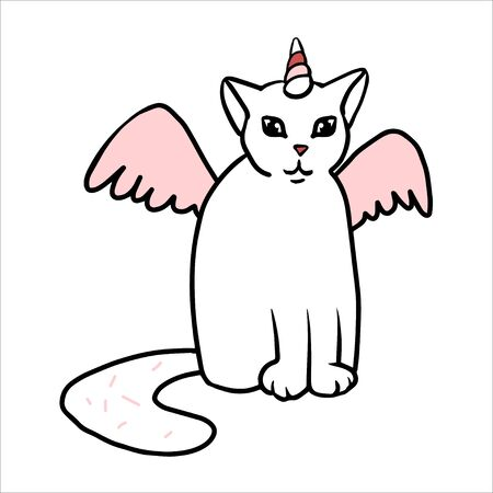 Unicorn cat simple doodle. White cat with pink horn, wings, big tail. Foto de archivo - 141065668