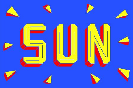 Bright yellow and orange sun lettering isolated on bright blue background. Sun rays. 3d text. Simple title with cut sides.