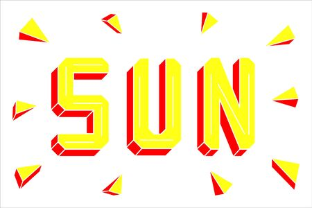 Bright yellow and orange sun lettering isolated on white background. Sun rays. 3d text. Simple title with cut sides.