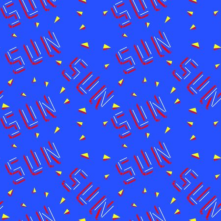 Red SUN lettering isolated on bright blue background. Yellow 3d sun rays. Seamless pattern.