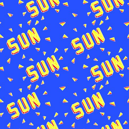 Bright yellow and orange sun lettering isolated on bright blue background. Sun rays. 3d text. Seamless pattern.