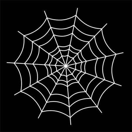 White spider web on white background. Halloween design element.