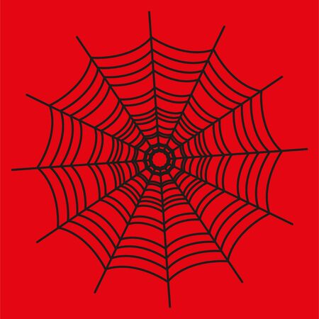 Blackspider web on red background. Halloween element.