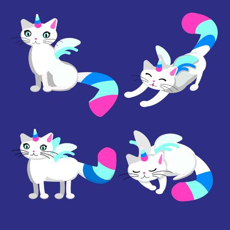 Unicorn cat colorful illustration on purple background set. Cute kitten with wings and horn. Blue, pink, white colors.