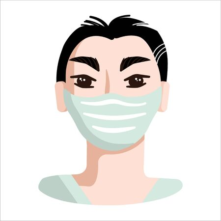 Portrait of an Asian person wearing medical face mask. Disease or smog protection. Isolated on white background.