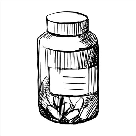 Pills container black line sketch on white background. Medication. Plastic flacon with drugs.