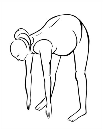 Illustration of a pregnant woman doing yoga pose. Black line sketch on white background. Lean forward exercise.