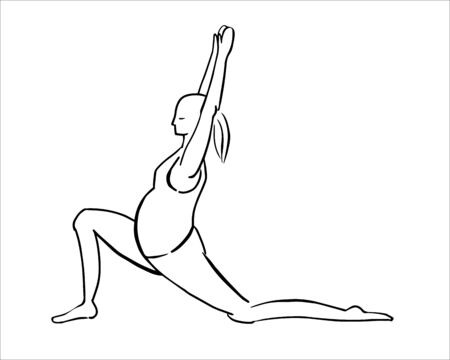 Illustration of a pregnant woman doing yoga pose. Black line sketch on white background. Lunge exercise. Warrior pose.