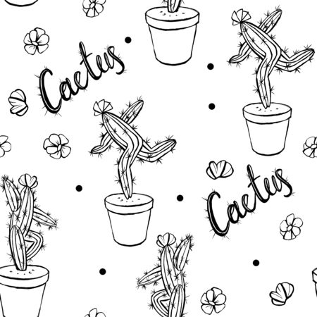 Dancing cactus in a pot sketch. Black on white isolated vector illustration. Cactus lettering and flowers seamless pattern.