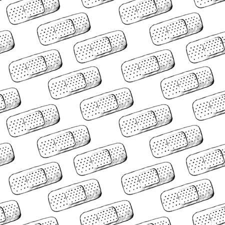 Band black line sketch on white background. Seamless pattern. Ilustração