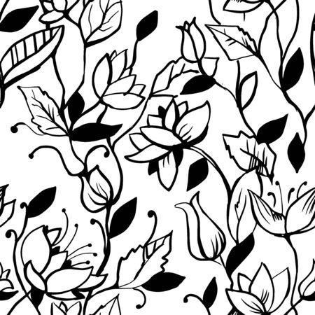 Floral black and white seamless pattern. Hand drawn sketch.