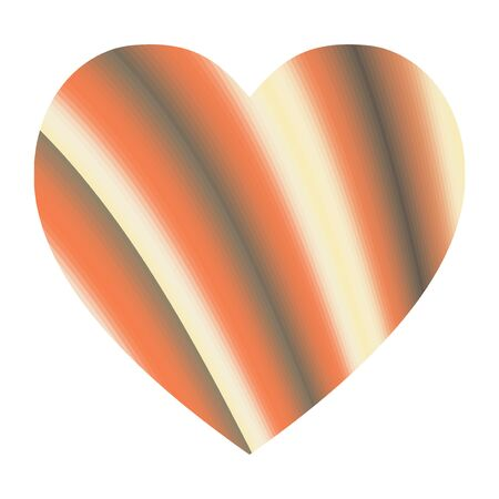 Abstract vector background with yellow and orange stripes. Heart shape.