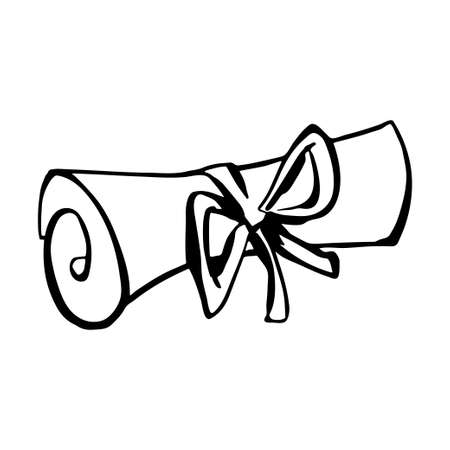 Hand drawn black line scroll illustration on white background. A paper roll tied with ribbon and a bow.