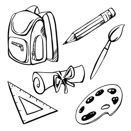 Black sketches on white background. School supplies set. Backpack ruler scroll palette brush pencil.