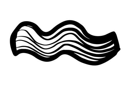 Abstract shape sketch on white background. Black lines. Waves.