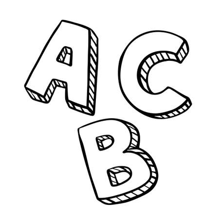 Letters ABC sketch with striped pattern. Child drawing. Black line letter on white background.