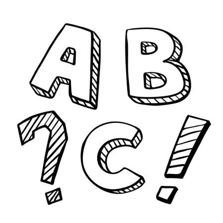 Letters ABC sketch with striped pattern. Child drawing. Black line letter on white background. Exclamation and question sign. Иллюстрация
