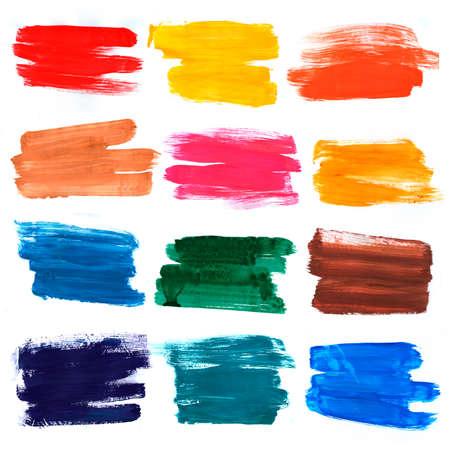 Bright warm color palette bristle brush strokes texture. Various color palette.